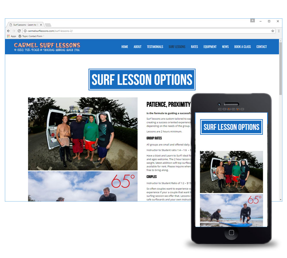 Carmel Surf Lessons Website Design