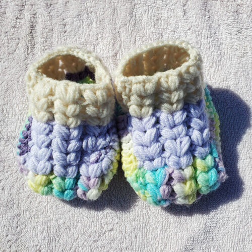 Mitchy's Face Handknit Baby Booties