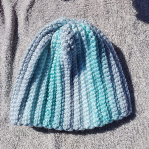 Mitchy's Face Multi-Color Light Blue Handknit Beanie